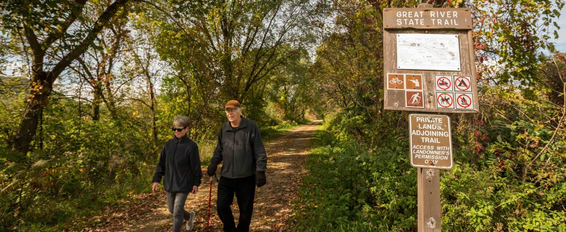 Couple Hiking on Great River State Trail