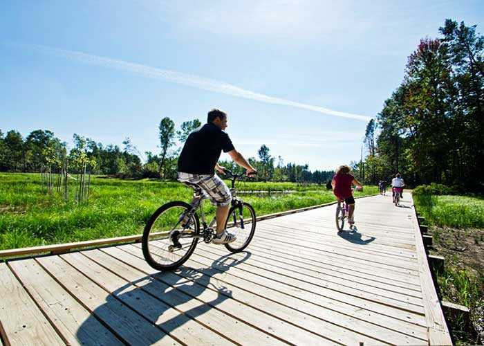 Biking over a boardwalk.
