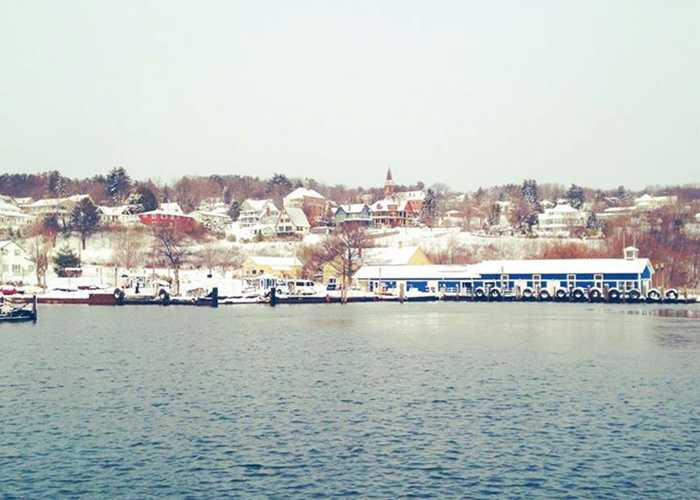 bayfield harbor after snow