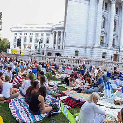 People on lawn of Capitol