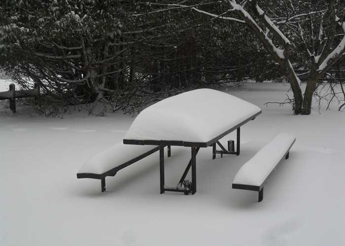 picnic table with snow