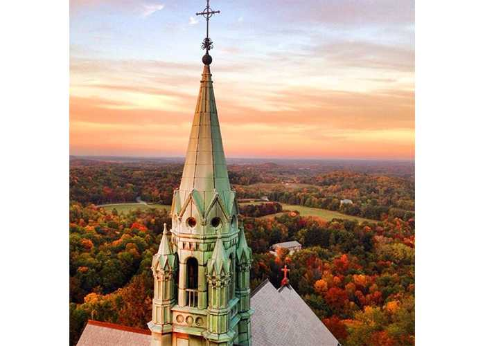 view from holy hill shrine in fall