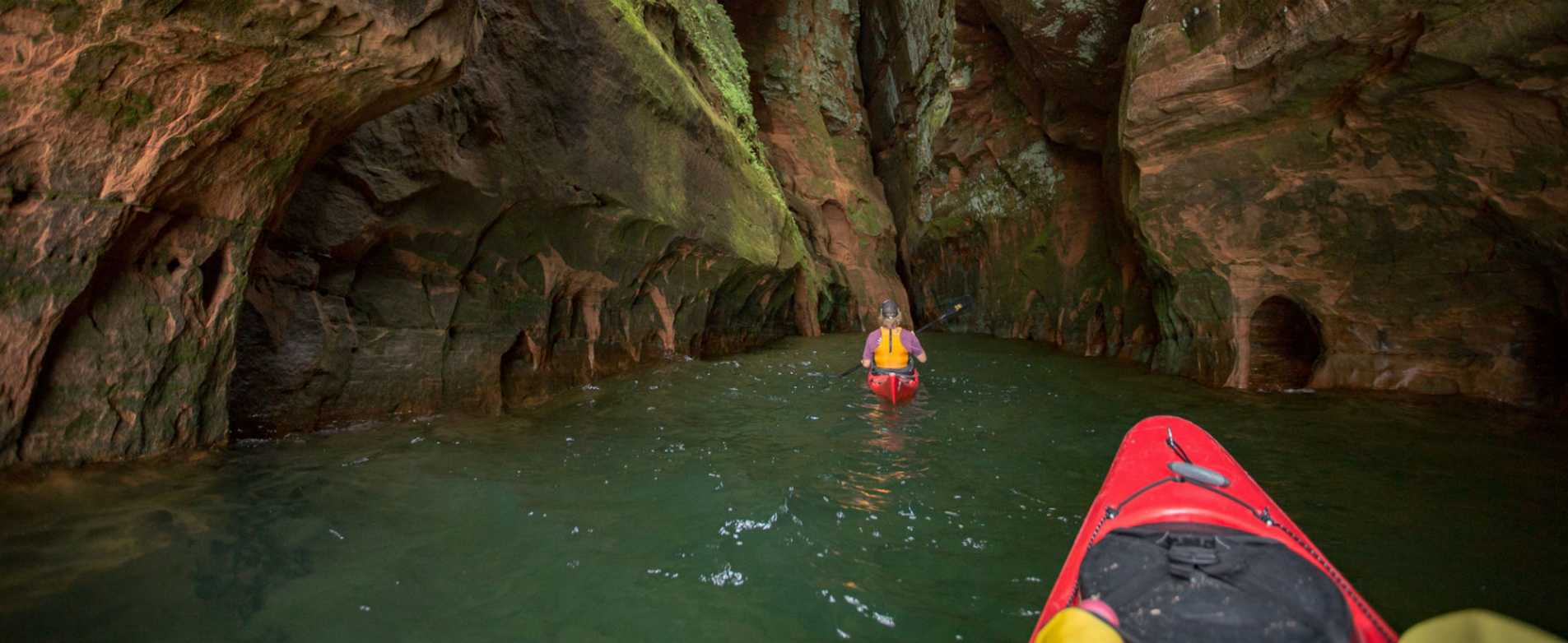 Kayaking through Rock Formation at the Apostle Islands