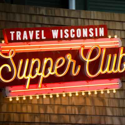 Travel Wisconsin Supper Club Neon Sign at Lambeau Field