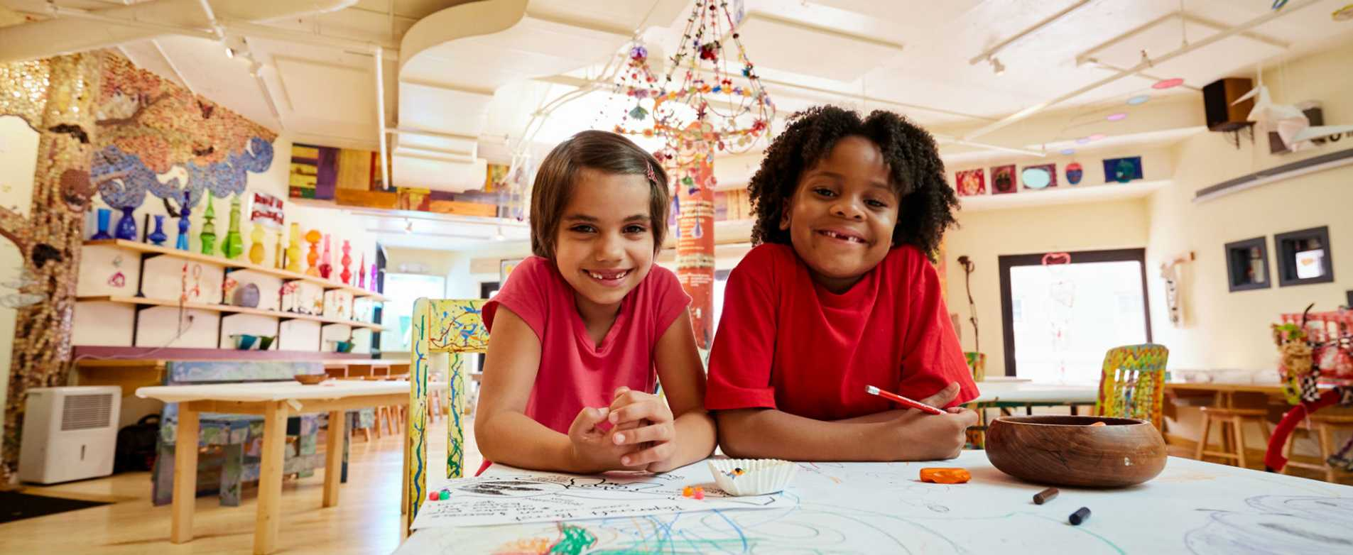 Children Coloring at the Madision Children's Museum