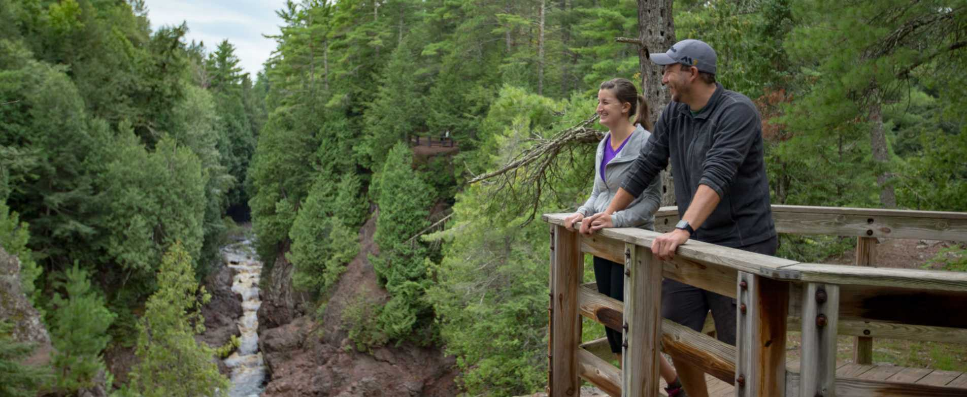 Couple Enjoying Overlook at Copper Falls State Park