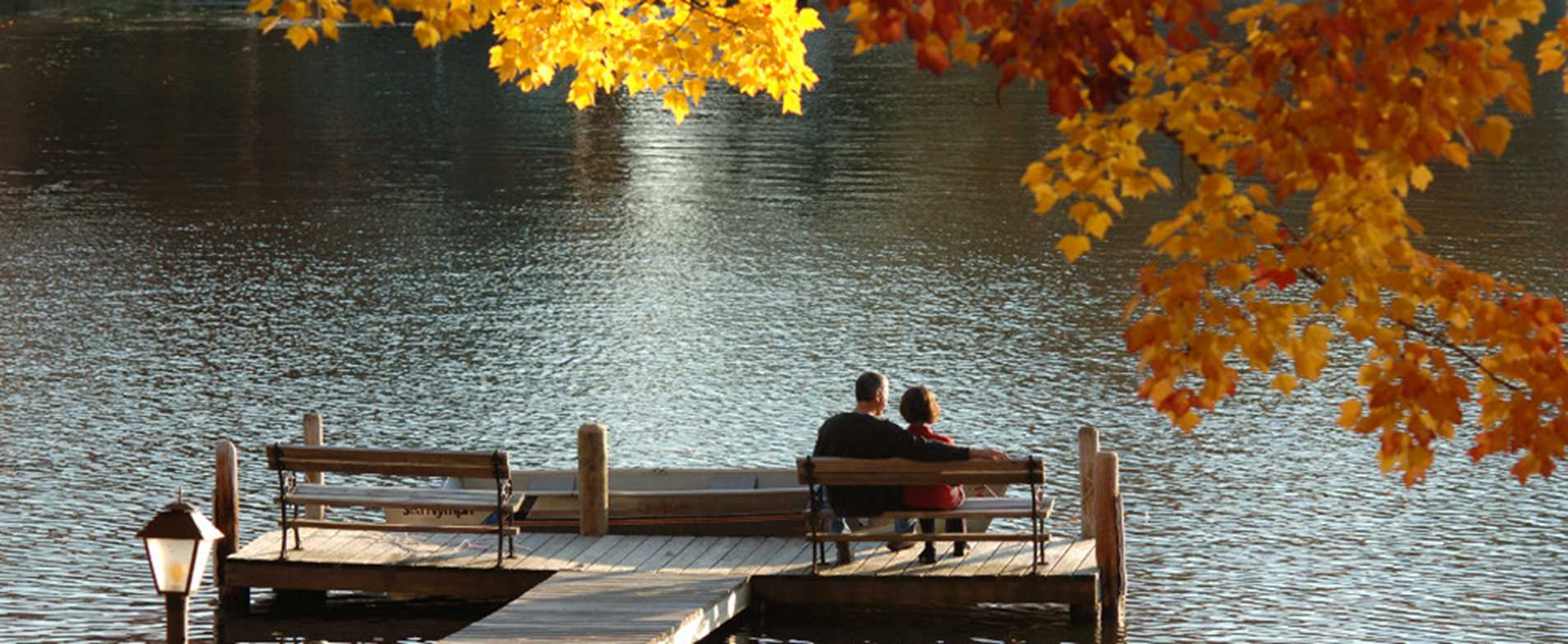 Fall romance on dock