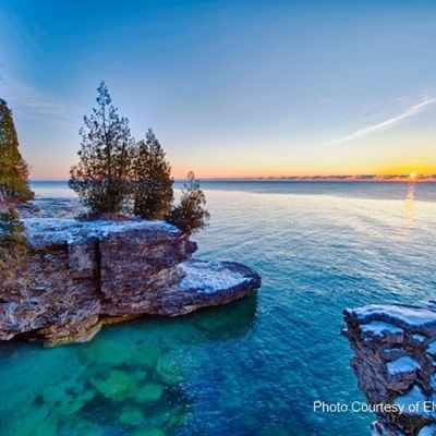 Door county shoreline at sunrise