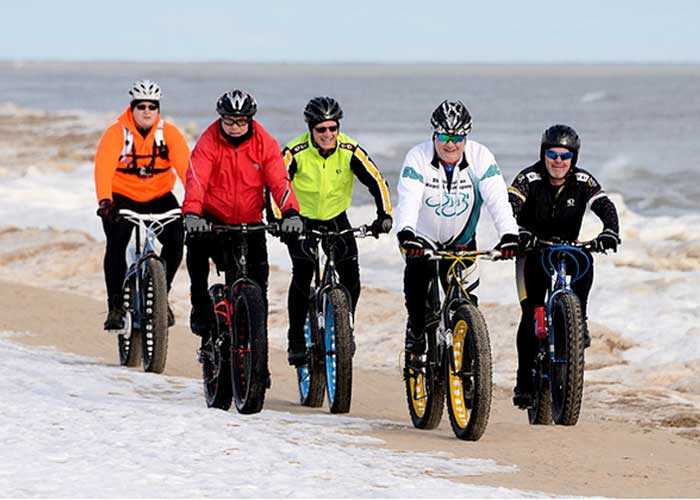 Fat biking on the beach.