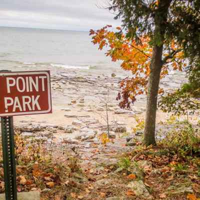 County park sign at shoreline