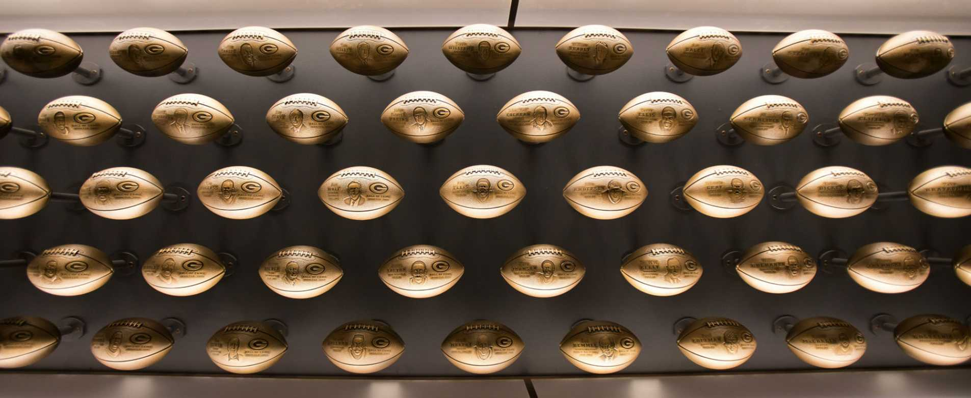 Wall of Footballs in Packers Hall of Fame Induction