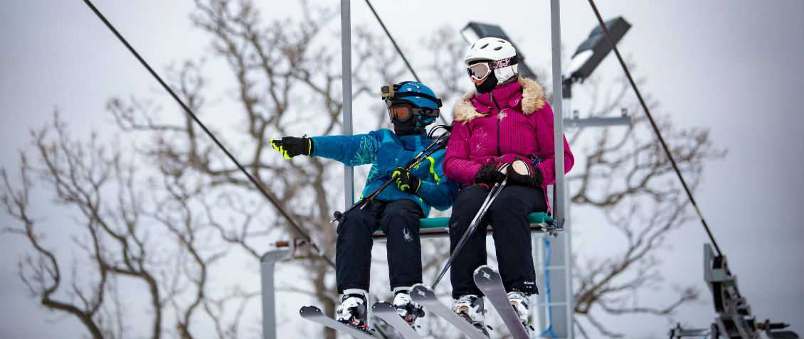 Mother and Son on Chair Lift at Wilmot