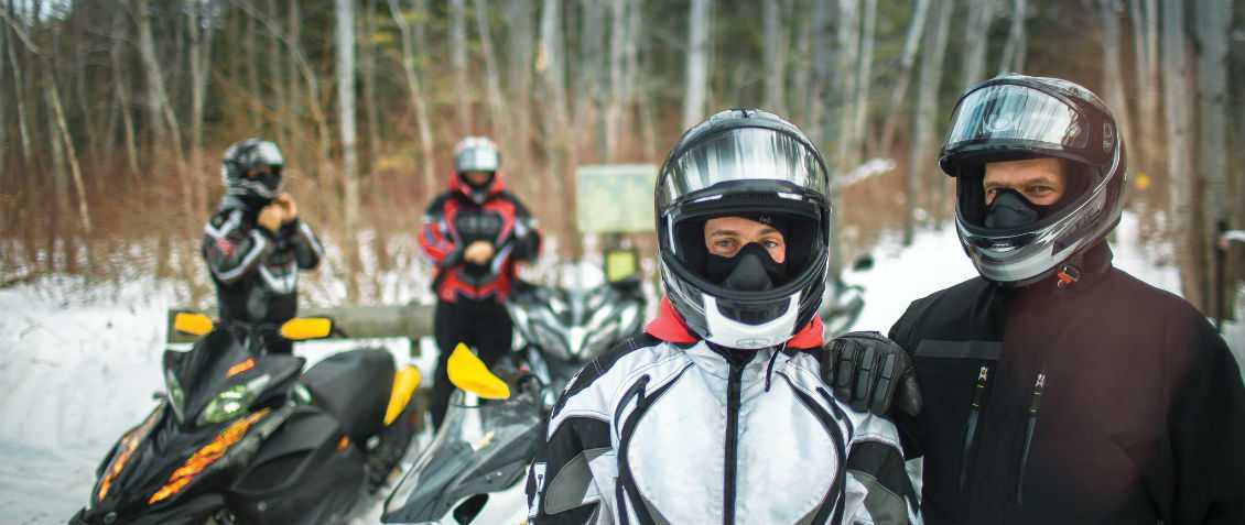 Couples Snowmobiling in Door County
