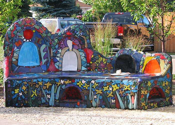 colorful, tiled bench