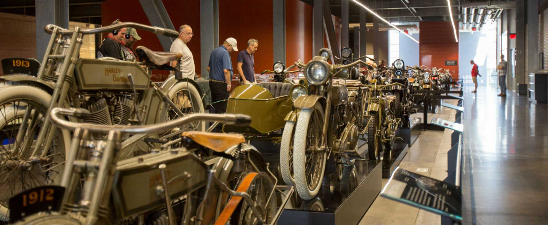 Vintage Motorcycle Exhibit at Harley Davidson Museum in Milwaukee