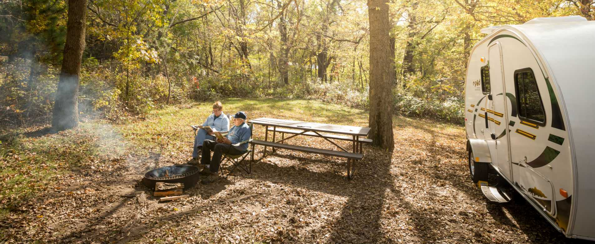 Couple Relaxing at Campsite in Perrot State Park