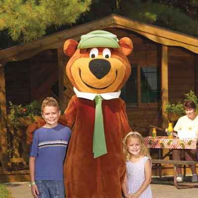 Yogi Bear and kids at campground