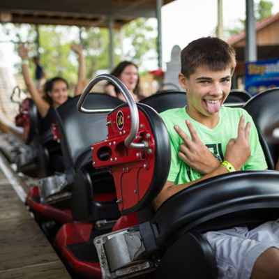 Kids having fun on roller coaster