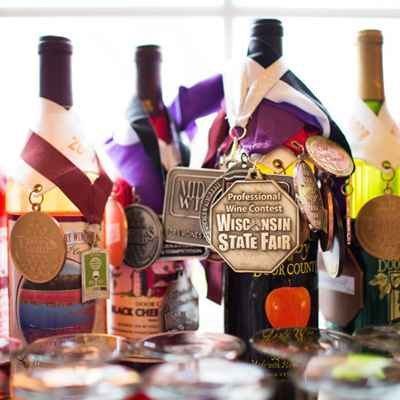 Wine bottles with medals and awards