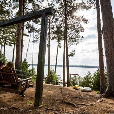 Swing overlooking lake