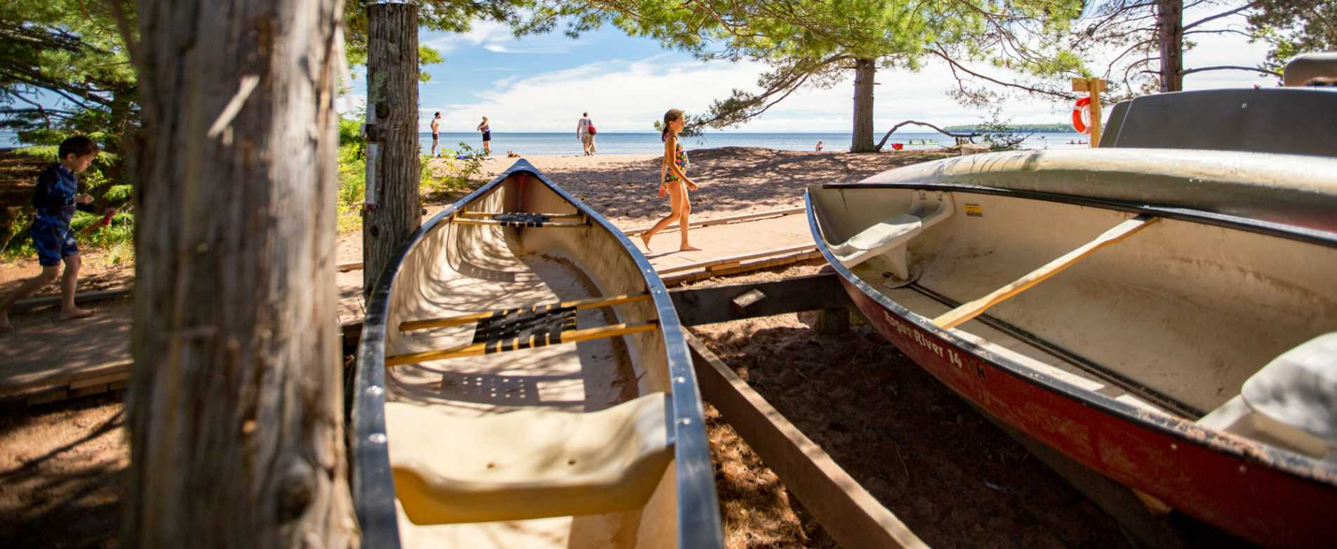 Canoes on Beach at Big Bay Town Park