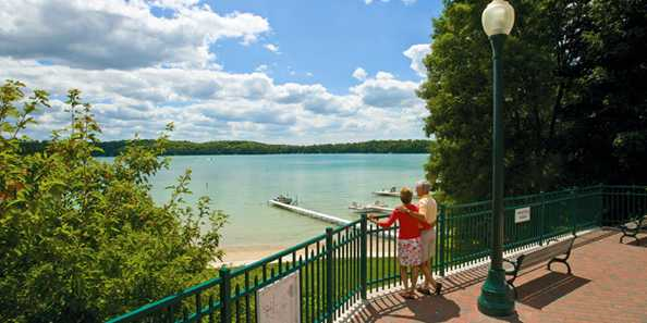 A public walkway and overlook provide a grand view of Elkhart Lake which measures a bit more than a mile, covering about 400 acres. The perimeter of the lake is a good four miles.
