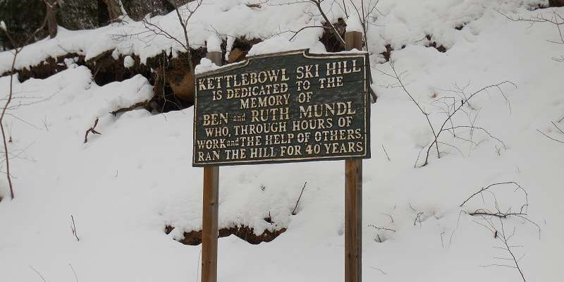 Kettlebowl Ski Hill has been dedicated to Ben and Ruth Mundl for running the hill for 40 years.