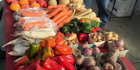A bounty of seasonal produce at the Oconomowoc Winter Farmers Market.