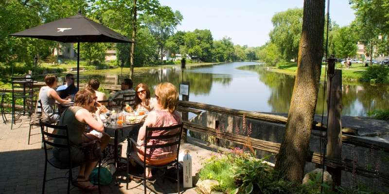 During the summer months, the Anvil offers patio dining overlooking Cedar Creek.