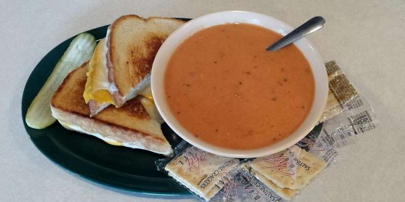 Grilled cheese with tomato basil soup