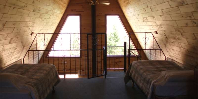 The interior of one of Cedar Cove's A-frames.