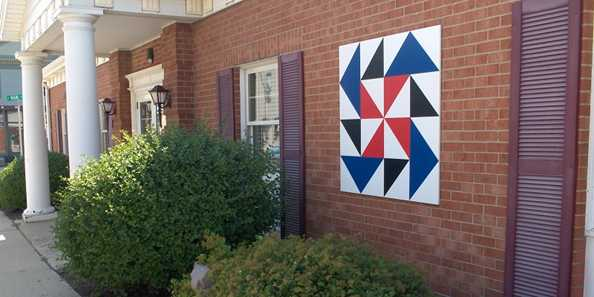 Evansville boasts numerous barn quilts on more than just barns.  Several businesses and residences also proudly display them.