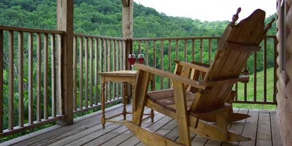 A perfect porch. A perfect view. From every cabin here at The Kickapoo Valley Ranch Guest Cabins. In every season.