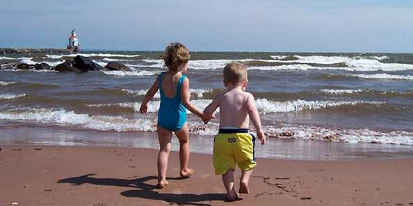 Wisconsin Point is great for swimming, playing in the sand, and other beach fun. Photo by Nancie Jardine.