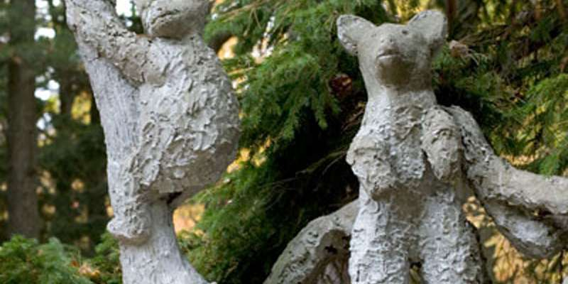 James Tellen Woodland Sculpture Garden (site detail, bears and tree post, Black River, Town of Wilson, Wisc.), c. 1942-1957; John Michael Kohler Arts Center Collection.
