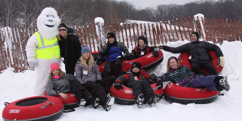 Snow tubing at
