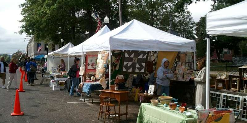 Vendors in their booths