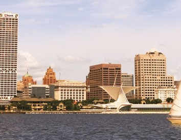 The Milwaukee skyline from Lake Michigan