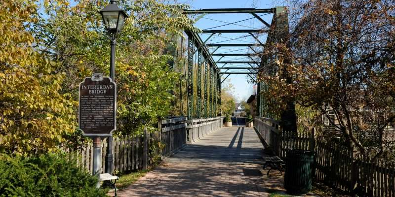The Interurban Bridge crosses the creek in the center of historic downtown Cedarburg.
