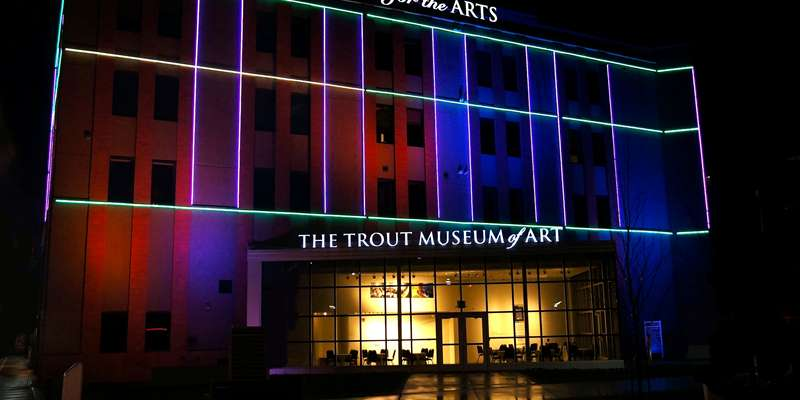 Street view of the Fox Cities Building for the Arts and The Trout Museum of Art with light installation by nationally renowned artist, Sandy Garnett.