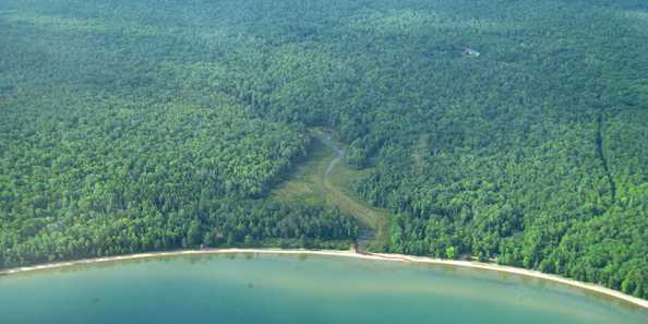 Aerial view of Frog Bay Tribal National Park and the greater Frog Creek Conservation Management Area.