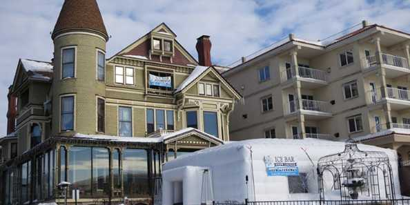 The Ice Bar sits in front of The Baker House in their lakefront gardens.
