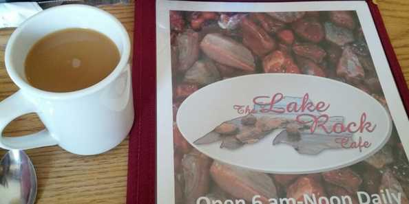 Ashland's Lake Rock Cafe serves a delicious hot breakfast along with Starbucks Coffee.