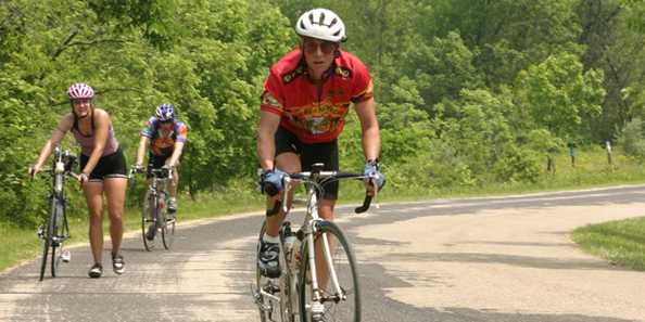 Bicyclists enjoy the challenge of the rolling hills and valleys of the Mount Horeb area.