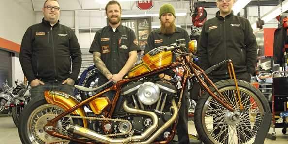 Members of our Service Team and the Custom King bike from 2016