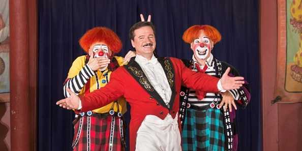 Clowns Steve Copeland and Ryan Combs bring mischief and mayhem to Ringmaster Dave SaLoutos in each and every show.