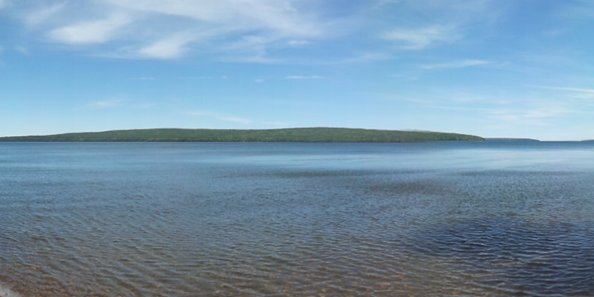 Five of the Apostle Islands can be seen from the beach at Frog Bay Tribal National Park (click on photo to see panorama)