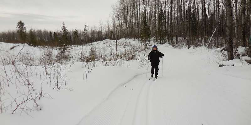 Skiing the Green Thumb Trail at Jake Lake Ski Trail in Langlade County.
