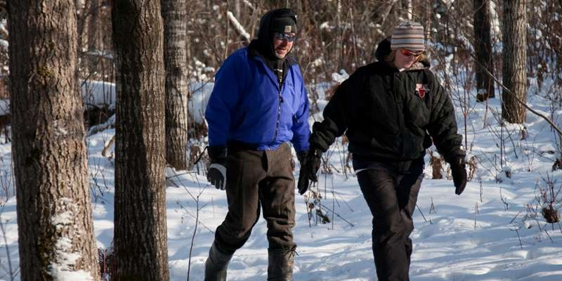 Snowshoeing on the Phillips School Forest Trail