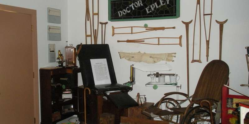 A medical office- sampling, in the history  shed